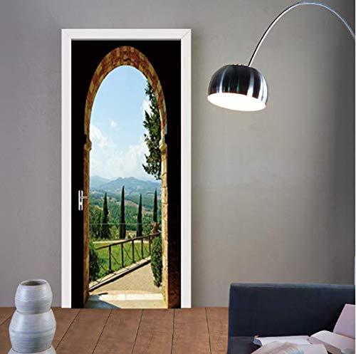 FLFK 30.3x78.7 3D Giardino Paesaggio Autoadesiva Adesivo per porta Murale Foto Adesivo da parete decalcomania Casa arredamento