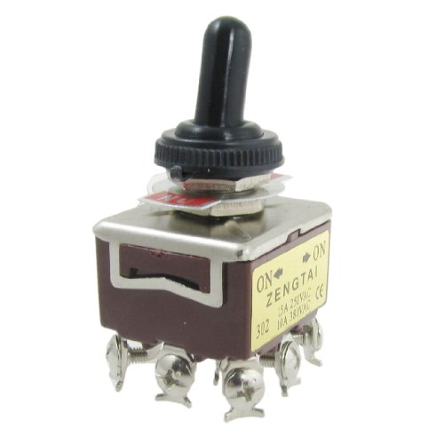 Uxcell On/On 2 Position 3PDT Toggle Switch with Waterproof Cap, AC, 250V, 15 Amp, 380V, 10 Amp