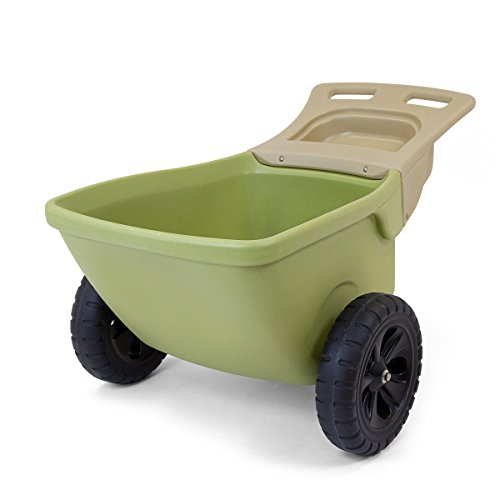 Simplay3 Easy Haul Plastic Wheelbarrow w/ Garden Tool Storage Tray, 4 cubic ft. Capacity (Wheelbarrow Plastic)