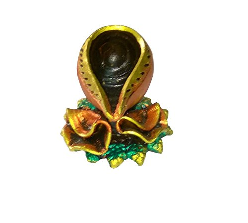 Craft Art India Handmade Shankh Design Diya Earthen Clay / Terracotta Decorative Dipawali / Diwali Diya / Tealight / Oil Lamps for Pooja / Puja - Set Of 4