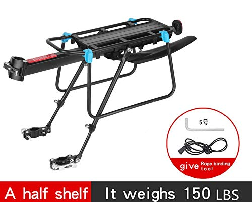 Misika Bicycle Rear Rack,Quick Release Bicycle Height Adjustable Cycling Luggage Cargo Rack with Red Reverse Reflector Lamp 150 LBS