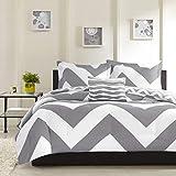 Tuweep Reversible Modern Grey White Chevron Sport Stripe Soft Comforter Set Shams COMF-18206041