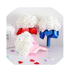 WodCht Beautiful 1Set Handmade Foam Artificial Rose Silk Bouquet for Bridesmaid Wedding Flower Decorations Accessories 69