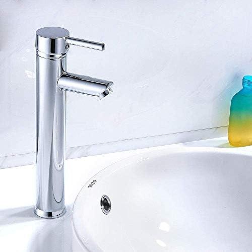 Dmqpp Hohe Badarmaturen Waschtischmischer Monoblock Messing Runde Einhebel-moderner Chrom-Hahn-Hahn Wasserhahn
