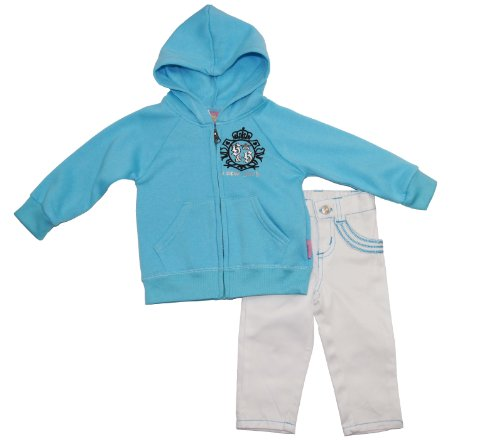 Sweet & Soft Baby Girls Sweet New York Jacket with Jeans 2Pc Set 18MBlue