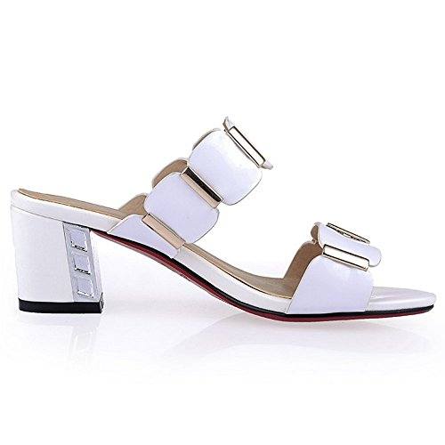 BalaMasa Girls Buckle Pull-on Patent Leather Slippers White f495OB4BS