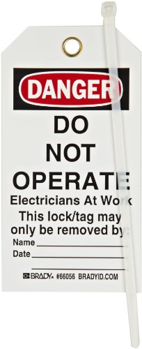 Brady''Danger - Do Not Operate - Electricians At Work - Only the Individual.'' Tag, Polyester, 5-3/4'' Height, 3'' Width (Pack of 25) by Brady (Image #1)