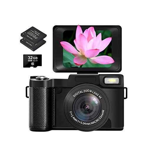 Digital Camera,Two Batteries and 32GB Micro SD Card,Vlogging Camera with Flip Screen 2.7K 30MP 3.0 inch Retractable Flashlight YouTube Camera for Vlogging