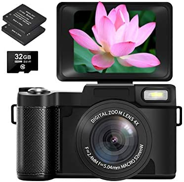 Digital Camera Vlogging Camera with Flip Screen, Two Batteries and 32GB Micro SD Card, 2.7K 30MP 3.0 inch Retractable Flashlight YouTube Camera for Vlogging