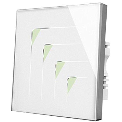 Wallpad C5triangulaire Symbole résistant aux rayures 4Gang 1Way en verre blanc panneau mural capteur tactile interrupteur, sensibles