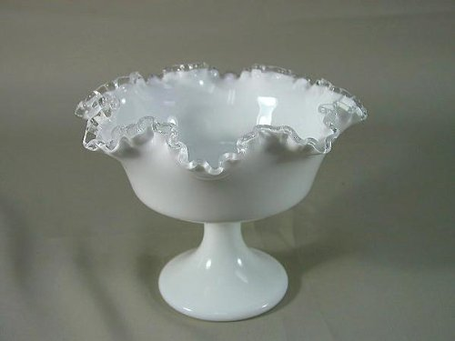 (Fenton Silver Crest Milk Glass Compote Pedestal Serving Bowl Candy Dish)