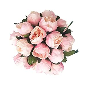 "Floral Kingdom 14"" Mini Real Touch Latex Artificial Peony Flowers Floral Arrangements, Bridal Bouquets, Home/Office Decor (6 Flowers, 2 Buds) 10"