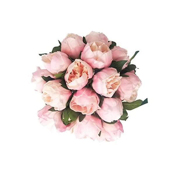 Floral Kingdom 14″ Real Touch Latex Artificial Peony Flowers for Floral Arrangements, Bridal Bouquets, Home/Office Decor (6 Flowers, 2 Buds) (Blush Pink)