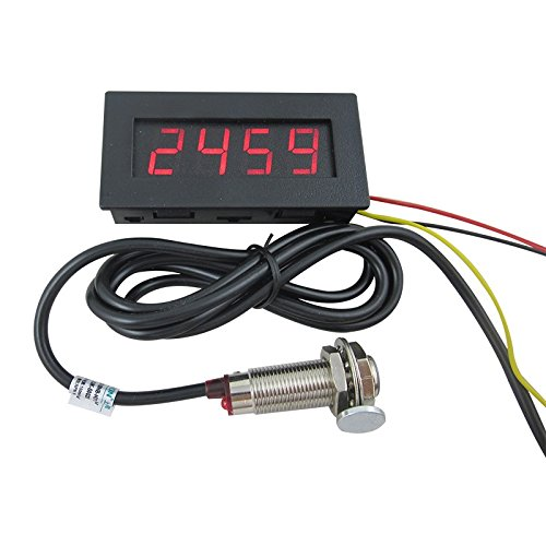 DIGITEN 4 Digital LED Tachometer RPM Speed Meter+Hall Proximity Switch Sensor NPN Red ()