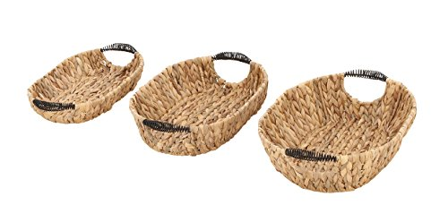 Benzara 41186 Antique Colonial Outstanding Hyacinth Metal Basket Set of 3 by Benzara
