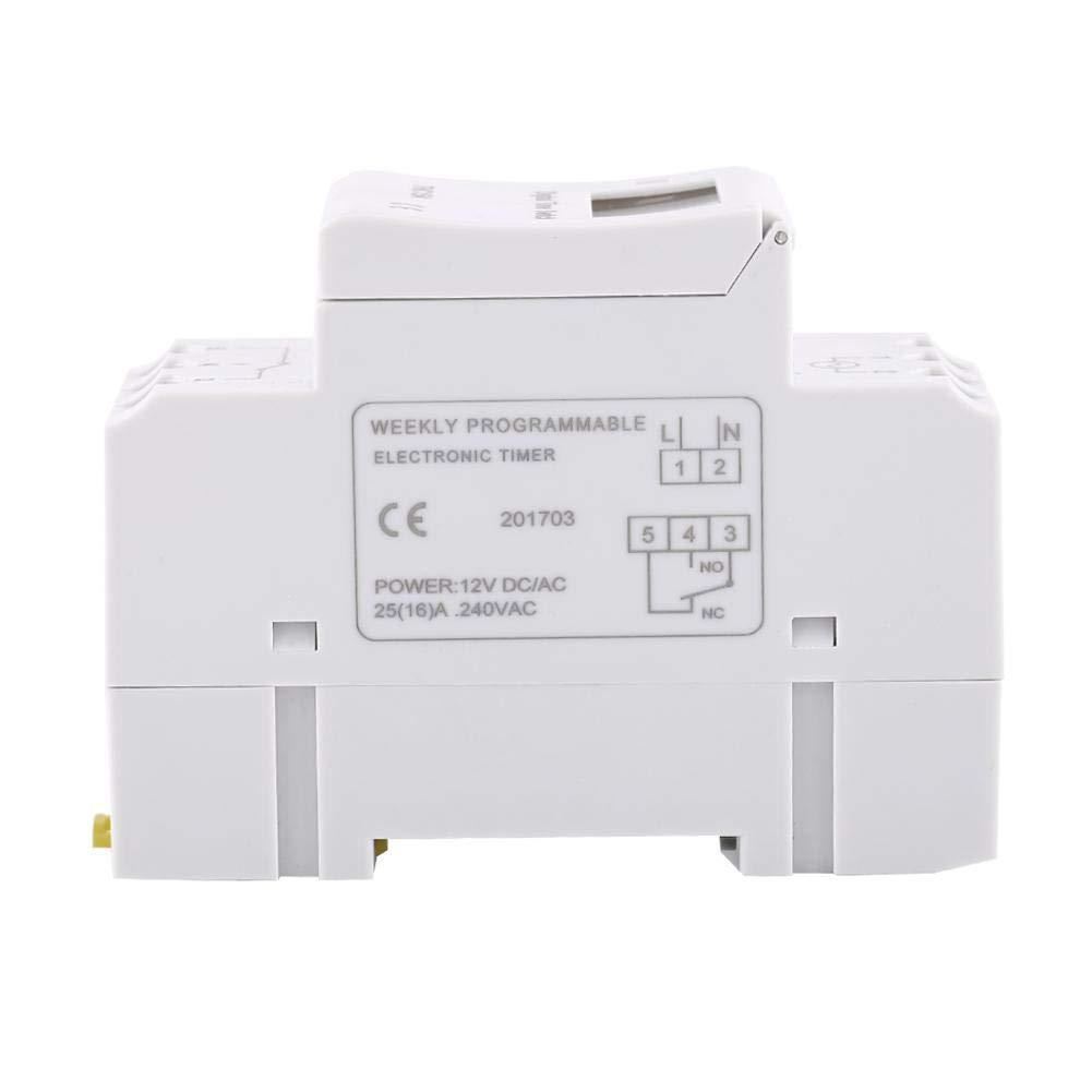 Wytino Interruptor de Temporizador Digital Pantalla LCD de 1 Unidad Interruptor de Tiempo de rel/é electr/ónico programable semanalmente 110V