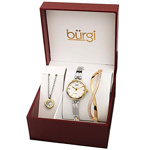 Burgi Women's Jewelry Gift Set – Half Bangle Diamond Watch, Swarovski Crystal Pendant Necklace and Bracelet – Flash Plated Gold and Silver - BUR212TTG-S from Burgi
