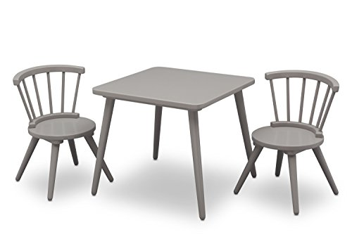 Delta Children Windsor Kids Wood Chair Set and Table (2 Chairs Included), Grey (Wood Barn Chairs)