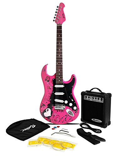 Jaxville Pink Punk ST Style Electric Guitar Pack with Amp, Gig Bag,...