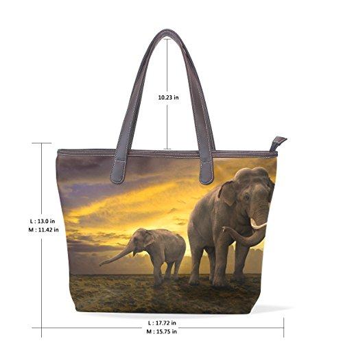 002 33x45x13 L à Multicolor la COOSUN en fourre de éléphants sur poignée tout cuir famille Sac grand cm Sacs tout bandoulière fourre PU Les Sunset CCSq4