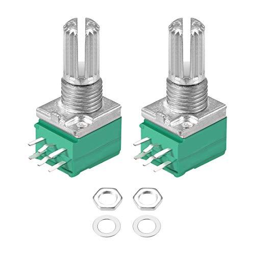 uxcell Potentiometer B100K Ohm Variable Resistors Double Turn Rotary Carbon Film Taper RV097NS 2pcs