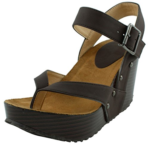 (Cambridge Select Women's Studded Ankle Strappy Buckle Thong Platform Wedge Sandal (9 B(M) US, Chocolate))