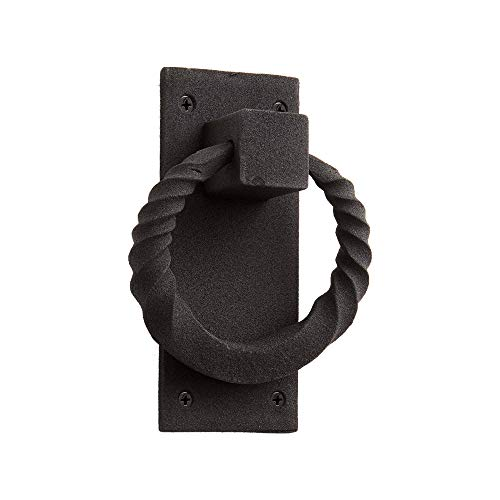 Casa Hardware Iron Twisted Ring Door Knocker in Black Finish