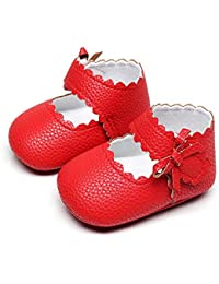 Baby Girls Ballet Dress Shoes - Mary Jane Soft Sole Sidebow Toddler Moccasins