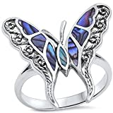 Simulated Abalone Butterfly .925 Sterling Silver Ring Size 11