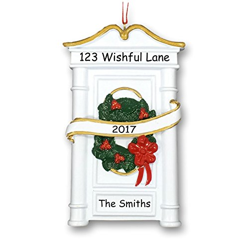 Ornament House Wreath (Personalized New Home Our First House Christmas Holiday Decoration Door with Wreath and Ribbon Hanging Christmas Ornament with Custom Name Address and Date (Optional))