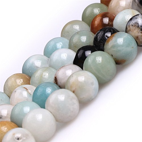 Joe Foreman Amazonite Beads for Jewelry Making Natural Gemstone Semi Precious 8mm Round Mixed Color Big Large Hole Hole Size 2mm 15