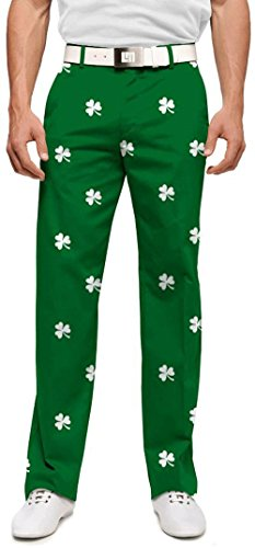 Loudmouth Golf Mens Pants: Embroidered White Shamrocks - Size 38x34