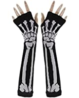 Winlans® Punk Gothic White Skeleton Halloween Long Arm Warmer Fingerless Dress Gloves
