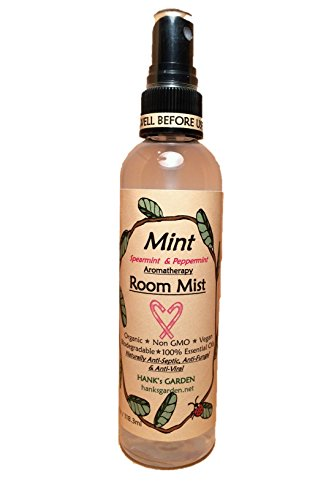 (Hank's Garden Mint Aromatherapy Room Spray Mist - Peppermint and Spearmint Essential Oils - Sweet Minty Candy Cane Aroma - All Natural, Earth Friendly, Vegan, Organic, Biodegradable, Non)