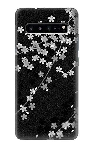 R2544 Japanese Kimono Style Black Flower Pattern Case Cover for Samsung Galaxy S10 ()