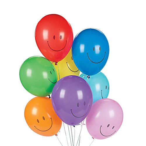 Fun Express - Smile Face Balloons for Party - Party Decor - Balloons - Latex Balloons - Party - 144 Pieces ()