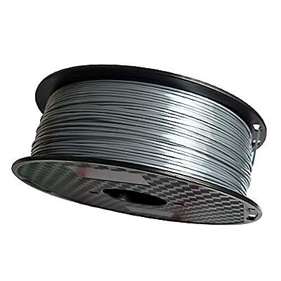 Silk Silver 3D Printer Filament PLA 1.75 mm 1 KG (2.2 LBS) Silky Shiny PLA Metal Silver Like CC3D ZHUOPU