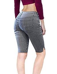 Hybrid & Company Womens Dark Wash Slit Pockets Denim Shorts