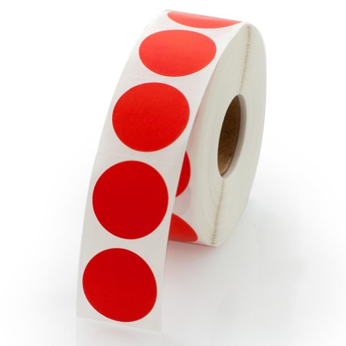 Red Round Color Coding Inventory Labeling Dot Labels / Stickers - 1 Inch Round Labels 1000 Stickers Per Roll