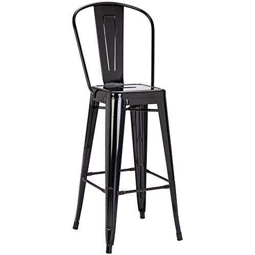 Pioneer Square Harris 30-Inch Bar-Height Metal Stool with Back Rest, Set of 4, True Black (Cheap Stools Bar Backs With)