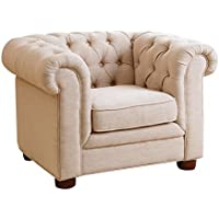 Abbyson Kids Teddy Mini Chesterfield Chair, Beige