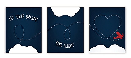 Nursery Decor, Let Your Dreams Take Flight Print 05x07 Inch Print in Blue, Red Plane, Wall Art Prints, Typography, Kid's Wall Art Print, Kid's Room Decor, Gender Neutral, Motivational, Baby Boy ()