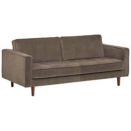 "Rivet Aiden Tufted Mid-Century Modern Velvet Bench Loveseat Sofa, 74""W, Otter Grey"