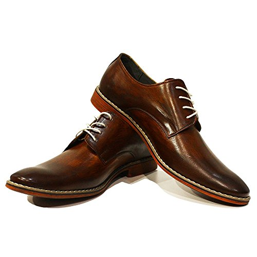 Modello Brodo - Handmade Italiennes Brun Chaussures - Cuir de vachette Cuir peint à la main - Lacer