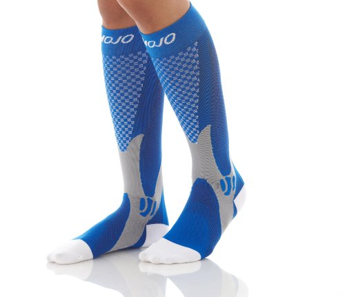 Authentic, Mojo Sports Compression Socks for Recovery & Performance, Compression Stockings (Blue, Large)