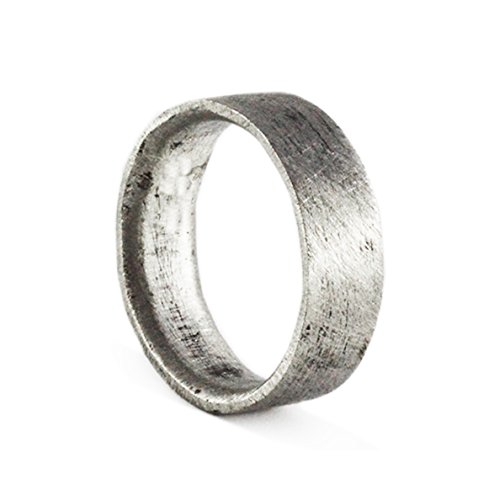 Carpe Diem Jewellery Mens Wedding Band Ring Oxidized Silver Personalized Engraving