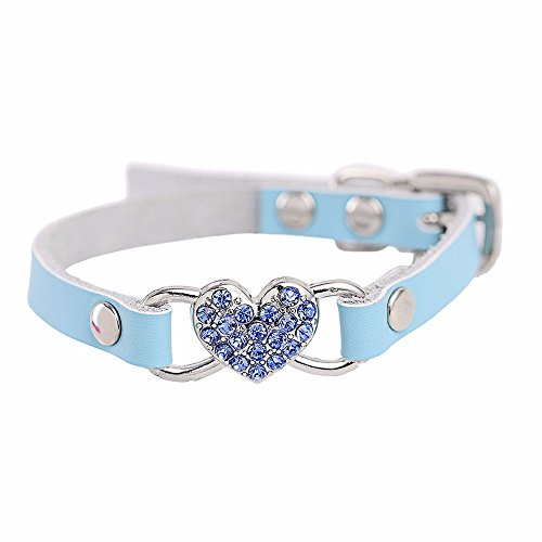 Staron  Pet Collars, Adjustable Leather Rhinestone Heart Shaped Pet Puppy Dog Collar Neck Strap (Small, Blue)