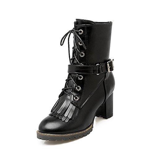 Allhqfashion Women's Fringed Pu Kitten Heels Zipper Round Closed Toe Boots Black xzAgSi4