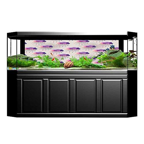(JiahongPan Background Fish Tank Decorations Triangle Art RaIn Drops On Polka Dots Print Grey Pink PVC Paper Cling Decals Sticker L35.4 x H15.7)