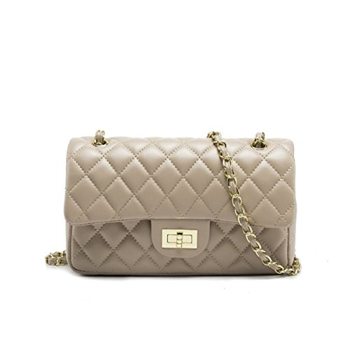Women's Chain Quilted PU Leather Shoulder Bag (10'', Nude)